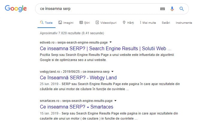 ce inseamna serp, search engine result page